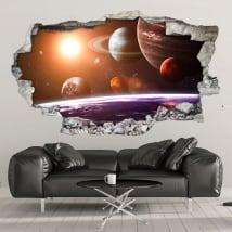 Vinile decorativo muri sistema solare 3d