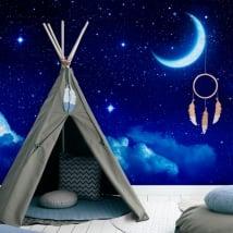 Murales in vinile luna e stelle
