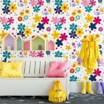 Murales in vinile fiori faccia felice
