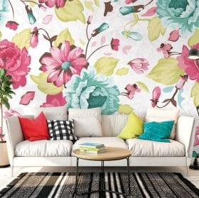 Murales di vinile con fiori da decorare