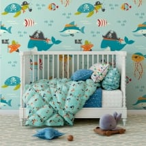 Murales vinile per bambini mondo marino