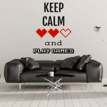 Vinile decorativo frasi keep calm and play games