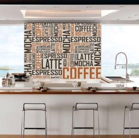 Vinile decorativo e adesivi testi di caffè
