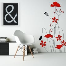 Vinile decorativo e adesivi fiori rossi