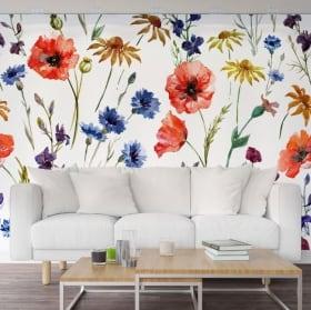 Pitture murali in vinile con fiori da decorare