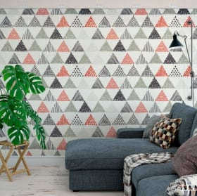 Murales in vinile triangoli decorazione nordica