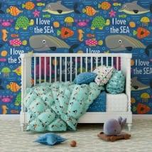 Murales in vinile per bambini mondo marino