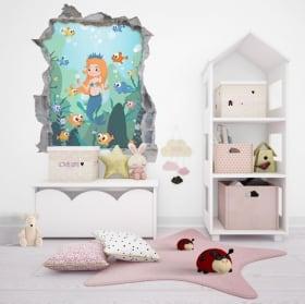 Vinile per bambini principessa foro muro 3d