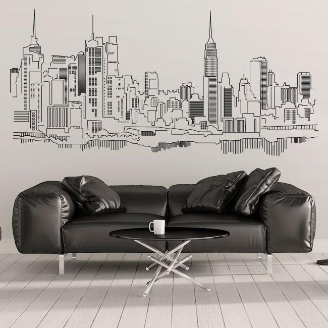 Adesivi Murali Skyline New York.Vinile Decorativo E Adesivi Skyline Di New York