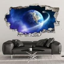 Vinili muri pianeta terra e cometa 3d