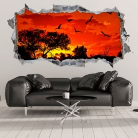 Adesivi e vinili decorativi tramonto in africa 3d