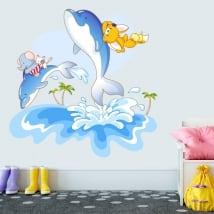 Adesivi in vinile delfini il divertimento dei bambini