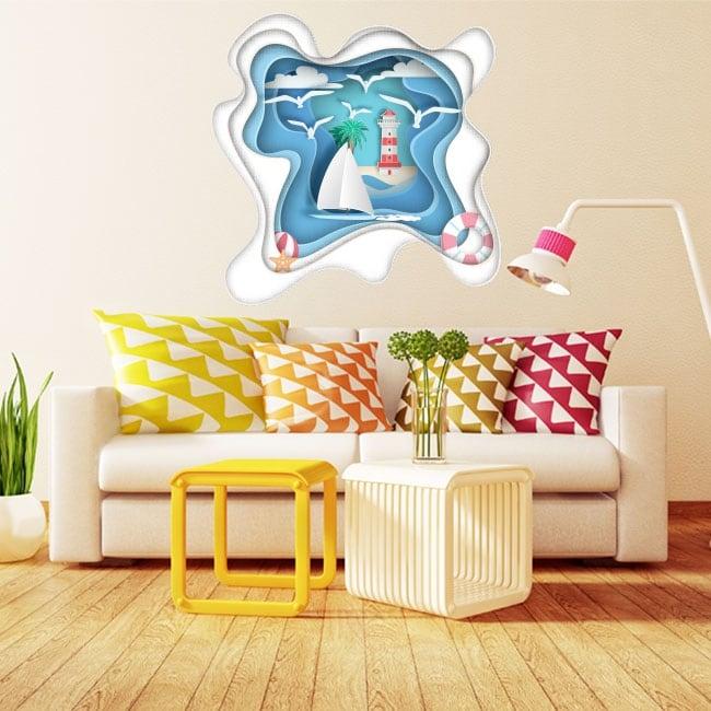 Vinile decorativo barca a vela e faro origami carta 3d