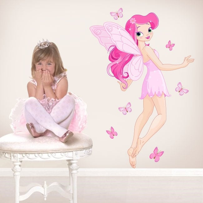 Adesivi e vinile per bambini fata con farfalle