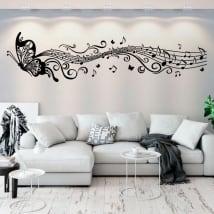 Vinile decorativo farfalle e musica pentagramma