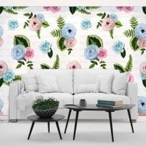 Murales in vinile fiori con frasi