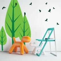Vinile decorativo alberi e uccelli