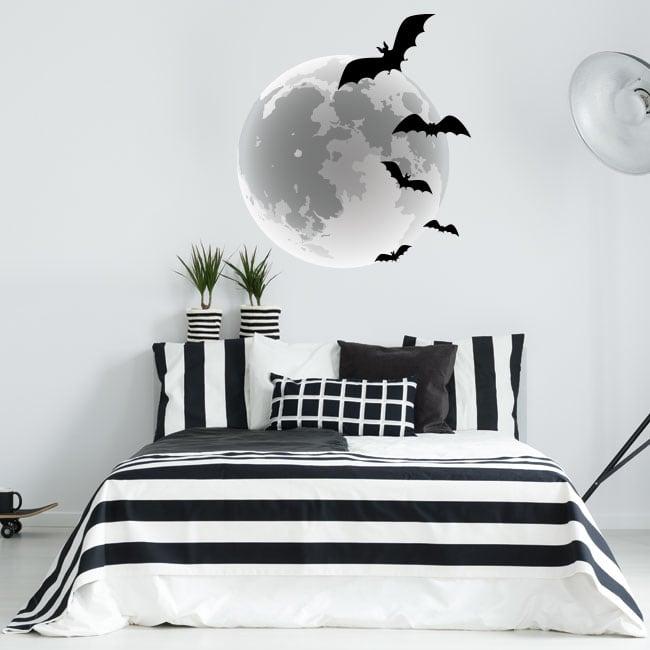 Adesivi e vinili pipistrelli e luna piena