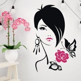 Vinile decorativo silhouette di donna fazzoletto
