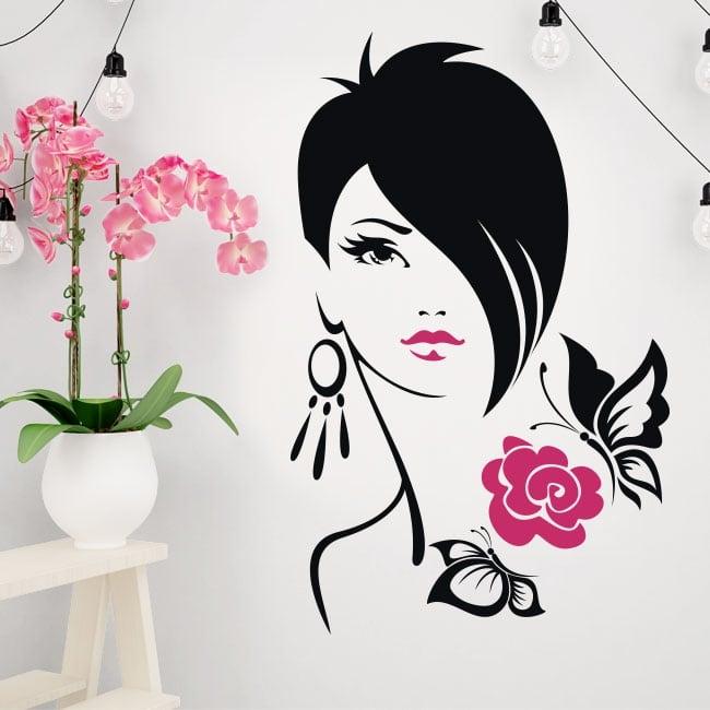Vinile e adesivi silhouette donna fiore con farfalle