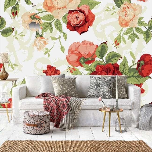 Murales in vinile rose della natura vintage