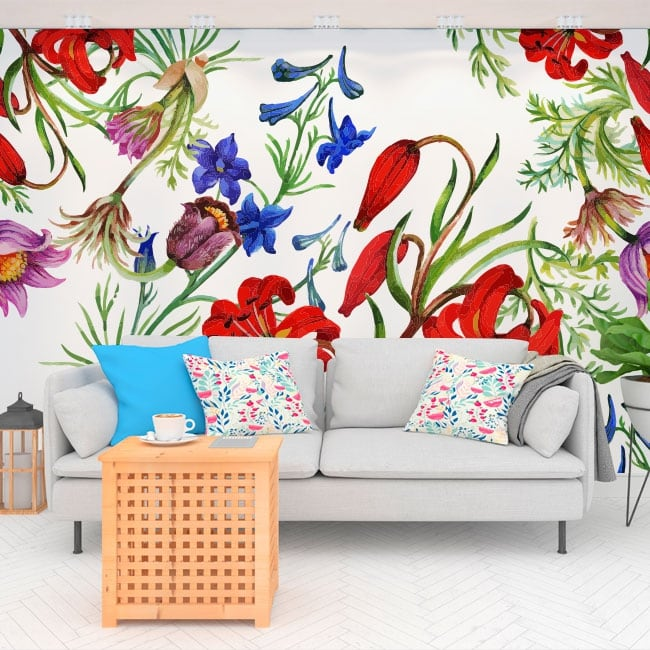 Murales in vinile con fiori