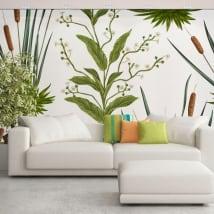 Murales di vinili con fiori e tife o typha