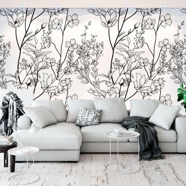 Murales in vinile illustrazione di fiori