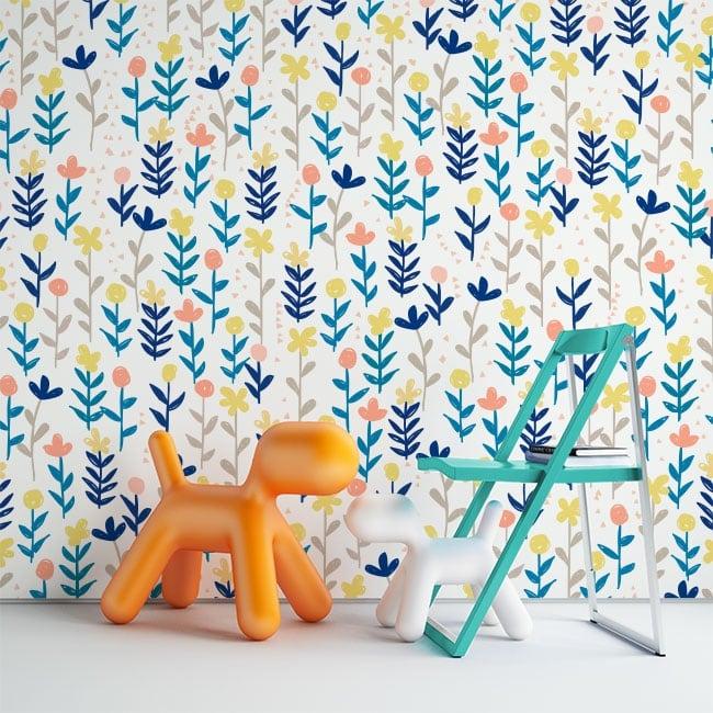 Murales in vinile con fiori colorati