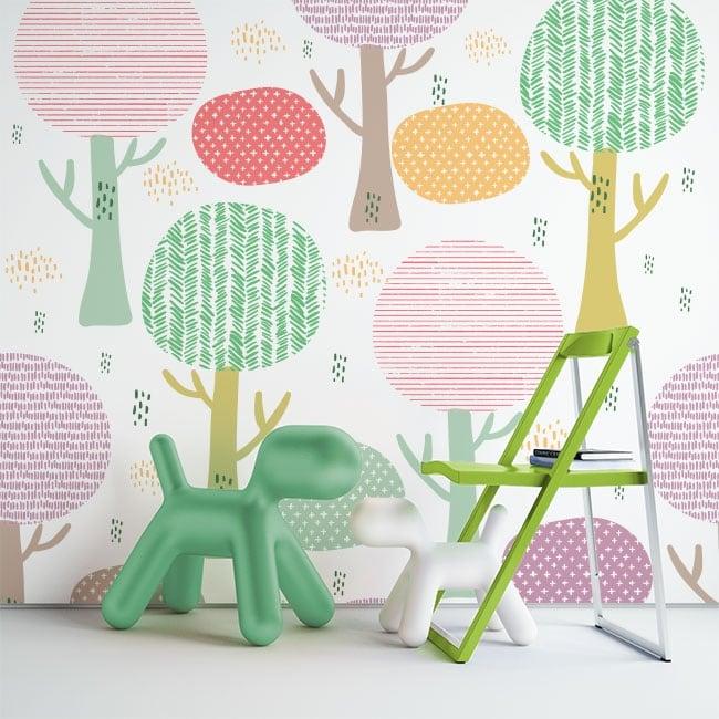 Murales in vinile alberi colorati