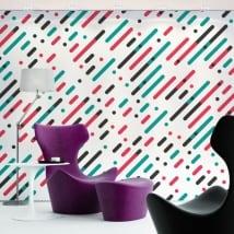Murales in vinile linee e cerchi di colori