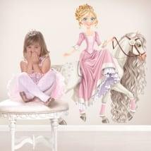 Vinile decorativo per bambini principessa e cavallo