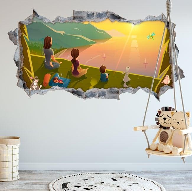 Vinili stanze per bambini famiglia nel campo 3d