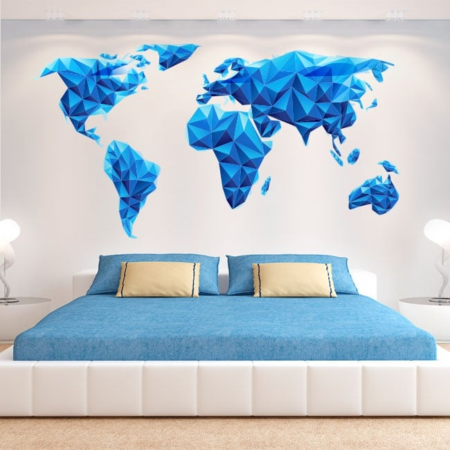 Vinili e adesivi mappa del mondo triangoli blu