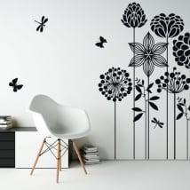 Vinile decorativo fiori farfalle e libellule