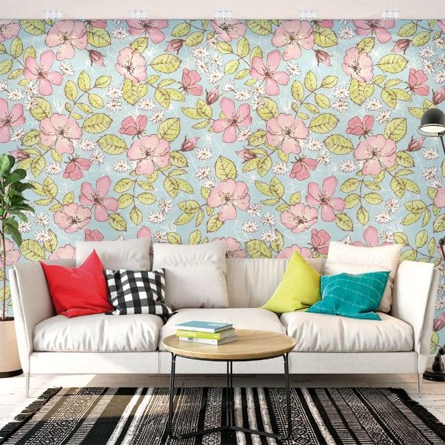 Murali adesivi con fiori e farfalle