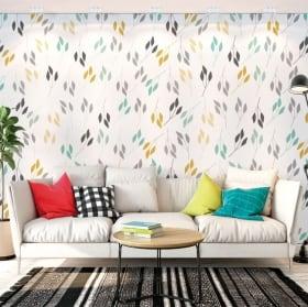 Murales in vinile con foglie di piante da decorare