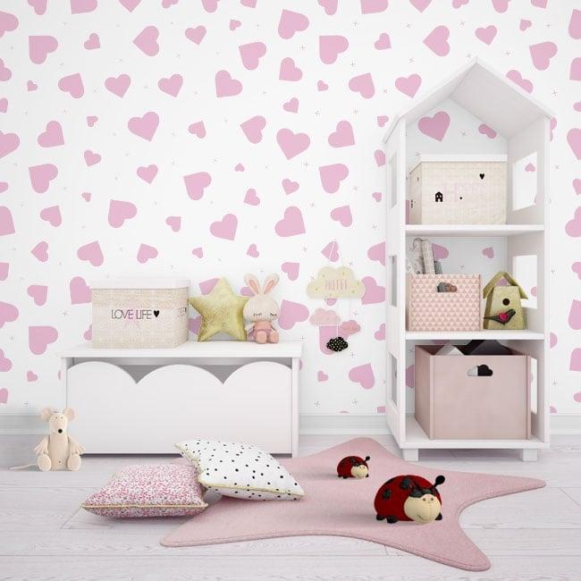 Murali di vinile adesivo con cuori rosa