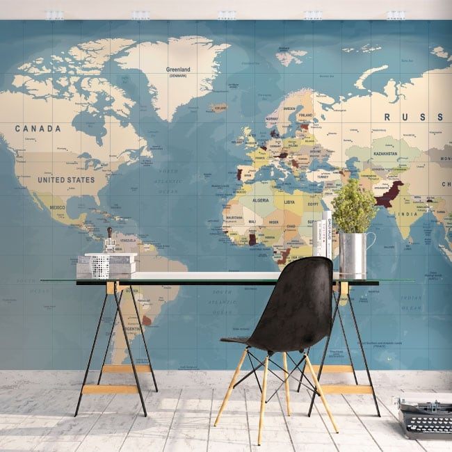 Murali di vinile adesivo mappa del mondo