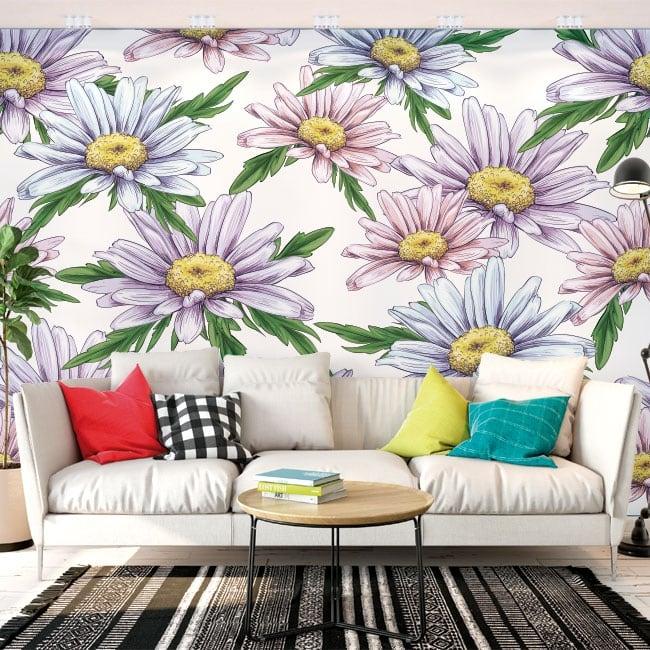 Murali di vinile adesivo fiori di camomilla