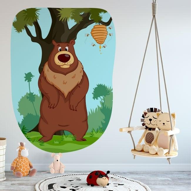 Vinile decorativo per bambini orso e api