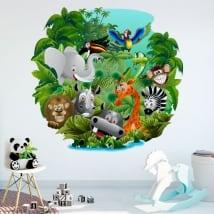 Vinile decorativo e adesivi per bambini animali nella giungla