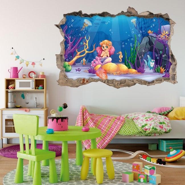 Vinile decorativo e adesivi per bambini sirenetta in mare 3d
