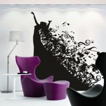 Vinile decorativo silhouette di donna e note musicali