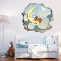 Vinile decorativo per bambini orsacchiotto sogna 3d