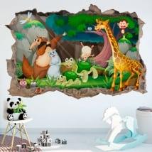 Vinile decorativo per bambini animali felici 3d
