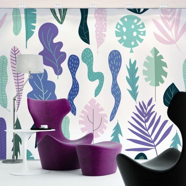 Murales in vinile fiori e foglie natura
