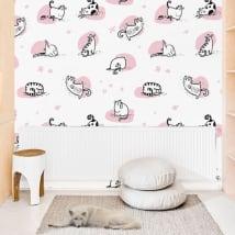 Gigantografie di vinile muri gatti di yoga