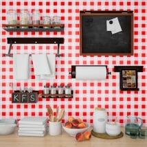 Gigantografie vinili muri cucine quadrati rossi vichy