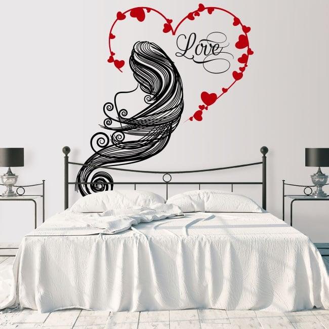 Vinili muri silhouette donna cuore amore